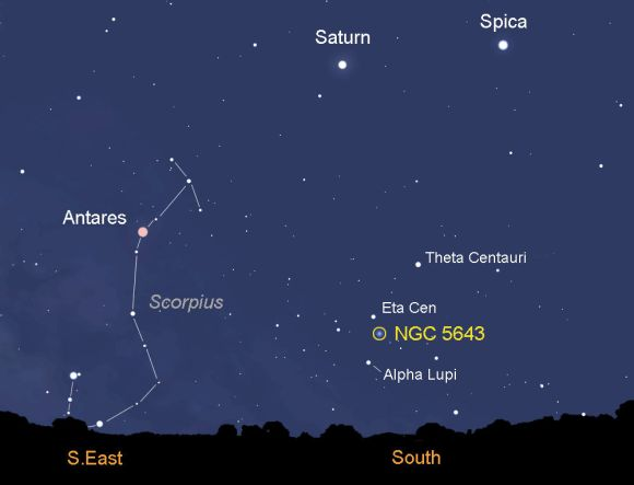 Map showing the sky looking south around 5 a.m. local time from Tuscon, Arizona. The new supernova in galaxy NGC 5643 is low in the southern sky before dawn for observers in the southern U.S. and points south. Created with Stellarium
