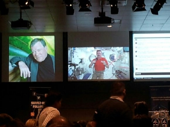 Screenshot from the Canadian Space Agency's live UStream webcast of the Hadfield/Shatner event.