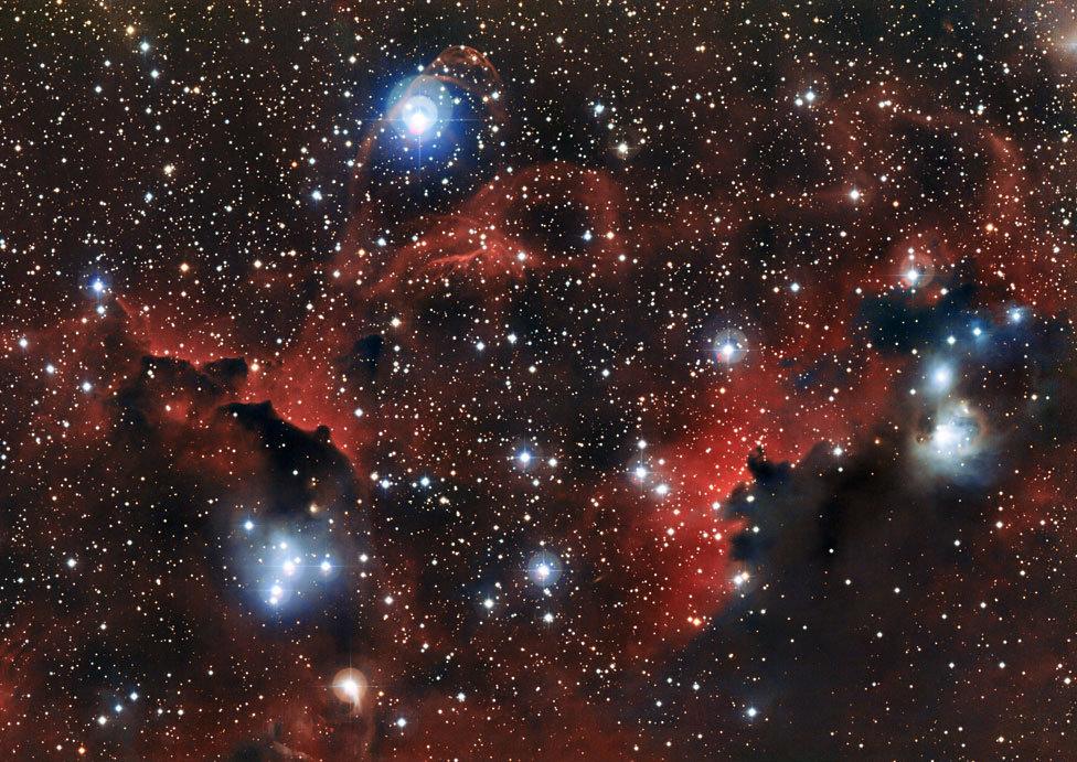 The glowing cloud Sharpless 2-296, part of the Seagull Nebula