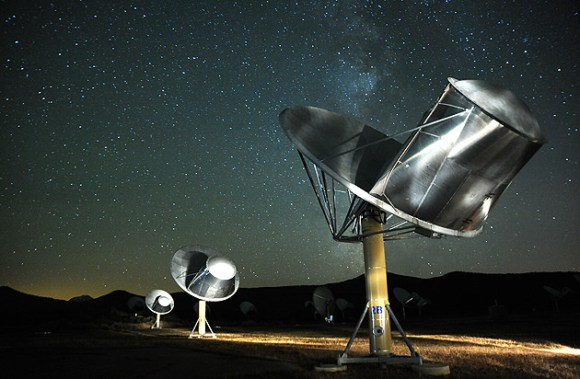 A time exposure of the Allen Telescope Array. (Credit: Seth Shostak/The SETI Institute used with perimssion).