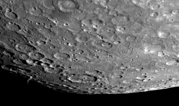 Mercury's southern polar region as seen from MESSENGER. (Credit: NASA/Johns Hopkins UniversityApplied Physics Laboratory/Carnegie Institution of Washington).