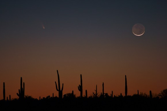 Comet C/2011 L4 (PANSTARRS) and the crescent Moon with earthshine over the Sonoran Desert. Credit and copyright: Nic Leister.