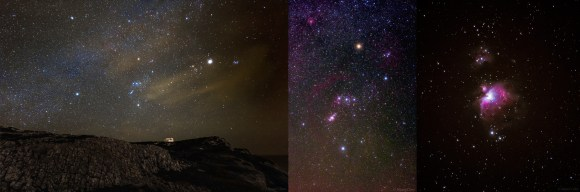 A poster with a progression of images from Cape Espichel, Sesimbra in Portugal. Left is a wide field starscape, center is Orion's deep sky objects and right is a closeup of M42. Credit and copyright: Miguel Claro.