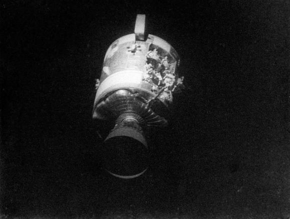 Evidence of the Apollo 13 explosion on the spacecraft Odyssey. Credit: NASA