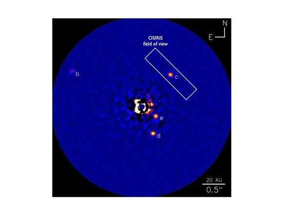 One of the discovery images of the system obtained at the Keck II telescope using the adaptive optics system and NIRC2 Near-Infrared Imager. The rectangle indicates the field-of-view of the OSIRIS instrument for planet C. Credit: Image courtesy of NRC-HIA, C. Marois and Keck Observatory.