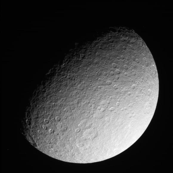 This raw, unprocessed image of Rhea was taken on March 10, 2013 and received on Earth March 10, 2013. The camera was pointing toward Rhea at approximately 280,317 kilometers away, and the image was taken using the CL1 and CL2 filter