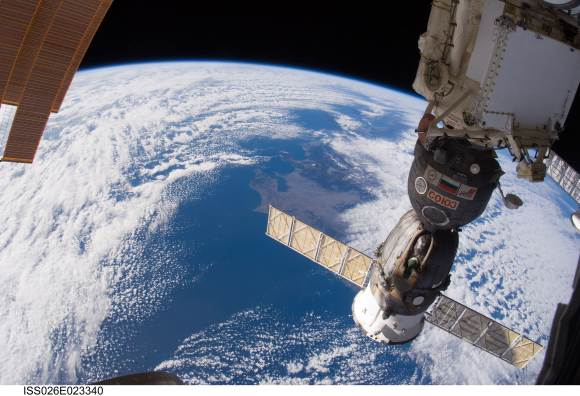 Russian Soyuz spacecraft, docked to the International Space Station. Credit: NASA.
