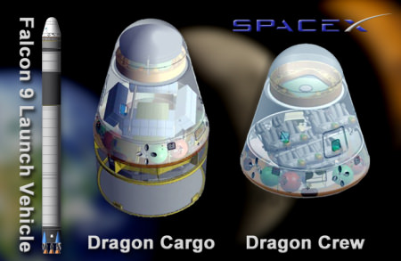 Falcon 9 rocket is the launcher for both the cargo and human-rated Dragon spacecraft. Credit: SpaceX