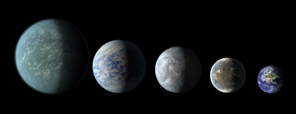 Relative sizes of Kepler habitable zone planets discovered as of 2013 April 18. Left to right: Kepler-22b, Kepler-69c, Kepler-62e, Kepler-62f, and Earth (except for Earth, these are artists' renditions). Credit: NASA/Ames/JPL-Caltech.