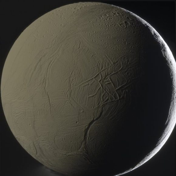 A patchwork network of frozen ridges and troughs cover the face of Enceladus. Credit: NASA/ESA, image processed by amateur astronomer Gordan Ugarkovi?.