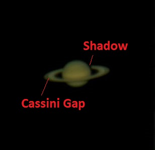 Saturn as imaged by the author on June 11th, 2012.