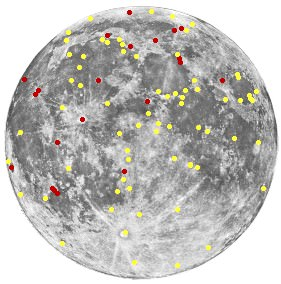 Collection of TLP reports analyzed by Barbara Middlehurst & Sir Patrick Moore. The red dots indicate reddish events, the yellow one other colored events. (Wikimedia Commons image in the Public Domain).