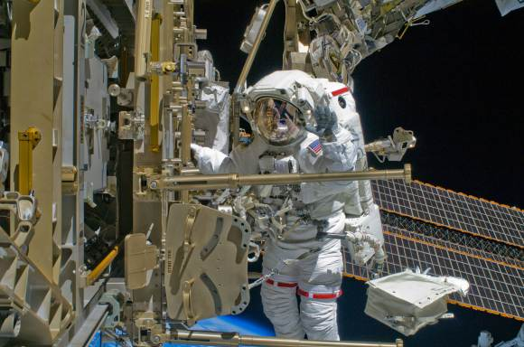 NASA astronaut Shane Kimbrough works outside the International Space Station in 2008. Credit: NASA