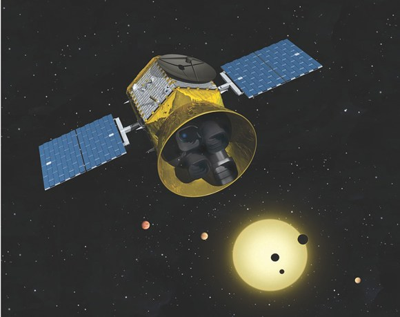 Artist's rendition of TESS in space. (Credit: MIT Kavli Institute for Astrophysics Research).