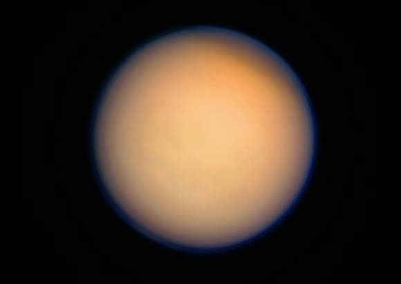 Color-composite of Titan made from raw Cassini images acquired on April 13, 2013 (added 4/17) NASA/JPL/SSI. Composite by J. Major.