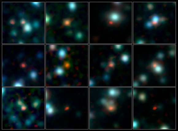 A team of astronomers has used ALMA (the Atacama Large Millimeter/submillimeter Array) to pinpoint the locations of over 100 of the most fertile star-forming galaxies in the early Universe.  Credit:: ALMA (ESO/NAOJ/NRAO), J. Hodge et al., A. Weiss et al., NASA Spitzer Science Center