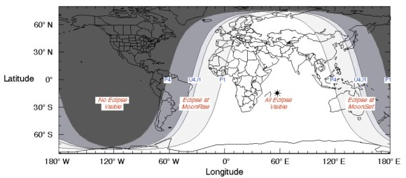 The visibility region of Thursday's partial lunar eclipse.