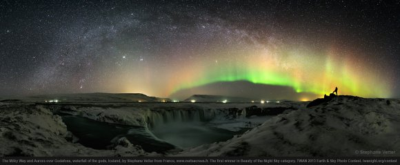 The Milky Way and Aurora over Godafoss, waterfall of the gods, Iceland, by Stephane Vetter from France, the first place winner in Beauty of the Night Sky category, TWAN 2013 Earth & Sky Photo Contest.