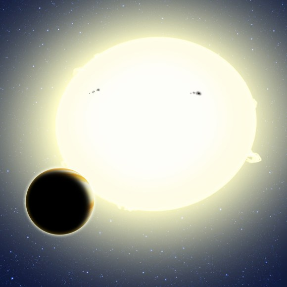 """Einstein's planet,"" formally known as Kepler-76b, is a ""hot Jupiter"" that orbits its star every 1.5 days. Its diameter is about 25 percent larger than Jupiter and it weighs twice as much. This artist's conception shows Kepler-76b orbiting its host star, which has been tidally distorted into a slight football shape (exaggerated here for effect). The planet was detected using the BEER algorithm, which looked for brightness changes in the star as the planet orbits due to relativistic BEaming, Ellipsoidal variations, and Reflected light from the planet. Credit: David A. Aguilar (CfA)"