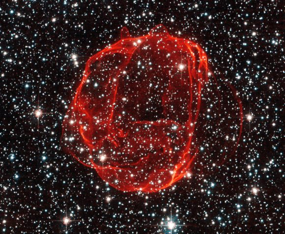 Hubble image of SNR 0519, the remains of a Type Ia supernova in the Large Magellanic Cloud