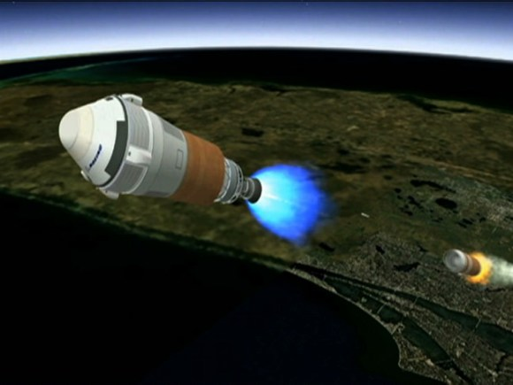Artist's concept shows Boeing's CST-100 spacecraft separating from the first stage of its launch vehicle, a United Launch Alliance Atlas V rocket, following liftoff from Cape Canaveral Air Force Station in Florida. Credit: Boeing