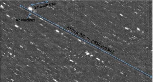 The dust tail on  Asteroid P/2010 A2  (LINEAR) has grown to over 1 million kilometers long. Image taken with the new One Degree Imager (ODI), a wide field optical camera at the WIYN telescope on Kitt Peak.
