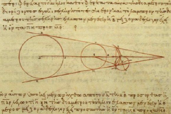 Aristarchus's 3rd century BC calculations on the relative sizes of, from left, the Sun, Earth and Moon. Credit: Wikipedia Commons