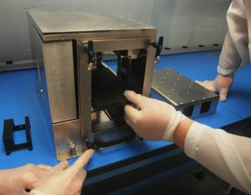 A close-up of the 3-D printer prototype made by Made in Space. Credit: Made in Space