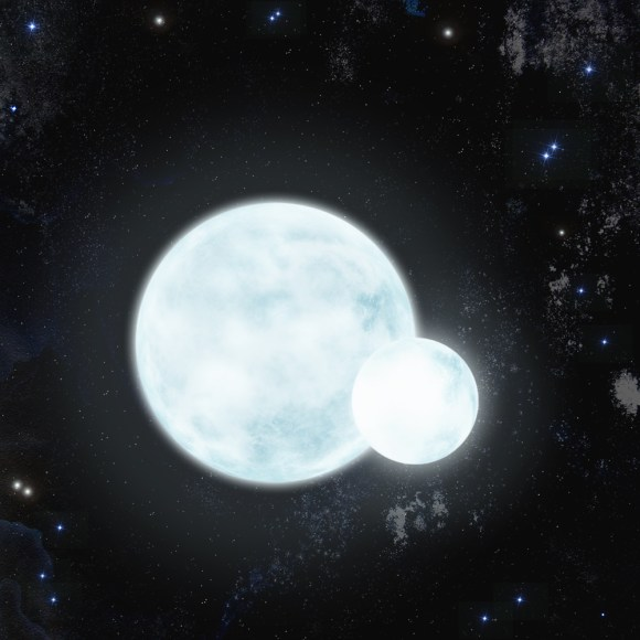 Artist's impression of the eclipsing, pulsating binary star J0247-25. (Credit: Keele University)
