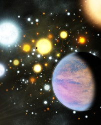 An artist's conception of a planet in a star cluster. Credit: Michael Bachofner