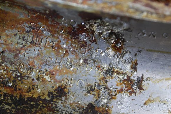 "Apollo 11 Saturn V F-1 Engine Thrust Chamber recovered from the floor of the Atlantic Ocean- stenciled with Rocketdyne serial number ""2044"". Credit: Jeff Bezos Expeditions"