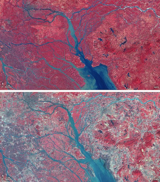 China's now-industrialized Pearl River Delta, seen in October 1973 (top) and January 2003 (bottom)