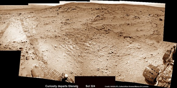 This photomosic shows NASA's Curiosity departing at last for Mount Sharp- her main science destination. Note the wheel tracks on the Red Planet's surface. The navcam camera images were taken on July 4, 2013 (Sol 324). Credit: NASA/JPL-Caltech/Ken Kremer (kenkremer.com)/Marco Di Lorenzo