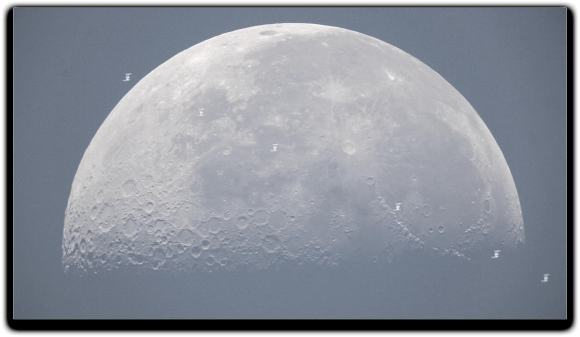 The International Space Station transiting the Moon as captured by Mike Weasner from Cassiopeia Observatory in Arizona.