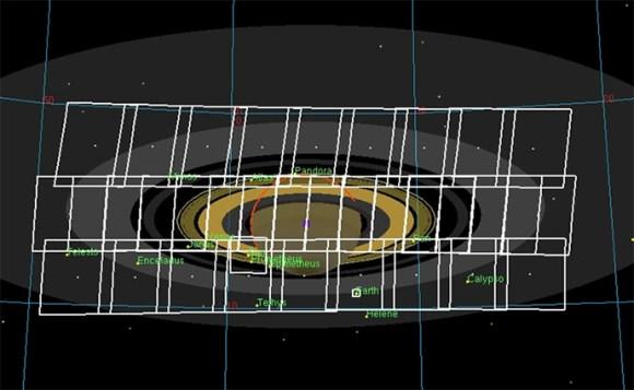 Full mosaic arrangement acquired by Cassini on July 19-20 UTC. (NASA/JPL-Caltech/SSI)