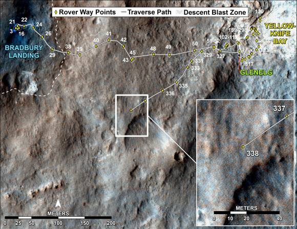 Curiosity's Traverse Map Through Sol 338 This map shows the route driven by NASA's Mars rover Curiosity through Sol 338 of the rover's mission on Mars (July 19, 2013).  Numbering of the dots along the line indicate the sol number of each drive. North is up. The scale bar is 200 meters (656 feet). From Sol 337 to Sol 338, Curiosity had driven a straight line distance of about 122.90 feet (32.59 meters). The base image from the map is from the High Resolution Imaging Science Experiment Camera (HiRISE) in NASA's Mars Reconnaissance Orbiter.  Image Credit: NASA/JPL-Caltech/Univ. of Arizona