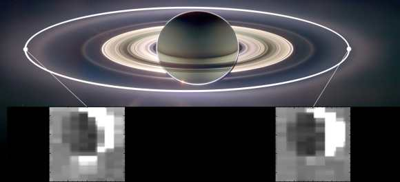 This set of images from NASA's Cassini mission shows how the gravitational pull of Saturn affects the amount of spray coming from jets at the active moon Enceladus. Enceladus has the most spray when it is farthest away from Saturn in its orbit (inset image on the left) and the least spray when it is closest to Saturn (inset image on the right). Credit: NASA/JPL-Caltech/University of Arizona/Cornell/SSI.