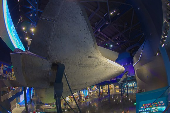 The belly of space shuttle Atlantis in