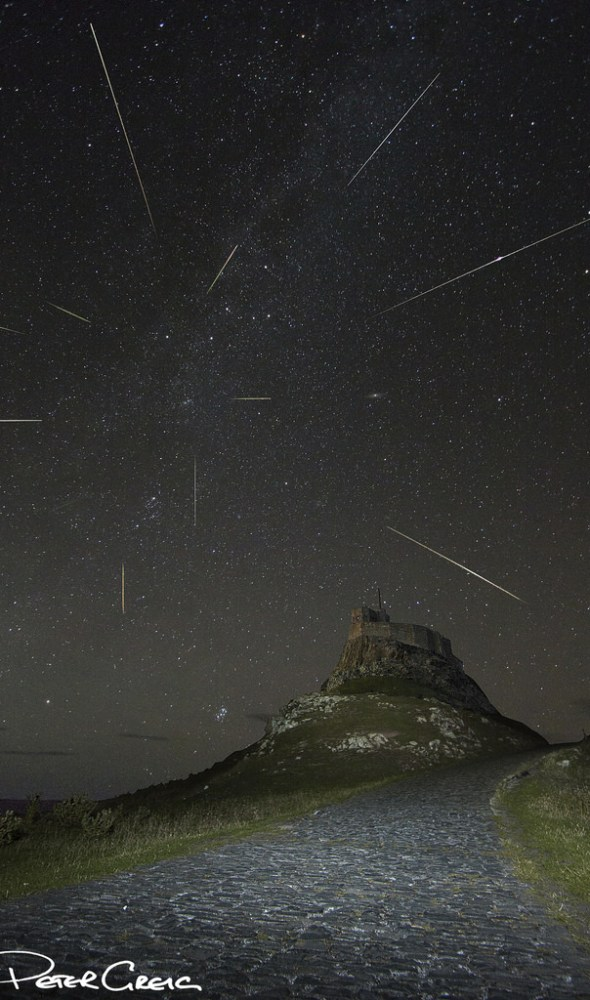 A composite of stacked images of the Perseid Meteor Shower on August 11, 2013 seen from Lindisfarne (Holy Island) off the northeast coast of England. Credit and copyright: Peter Greig.