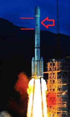 The launch of Chan'ge-2 with 3rd stage (arrowed) now known as 2010 Q (Credit CALT).