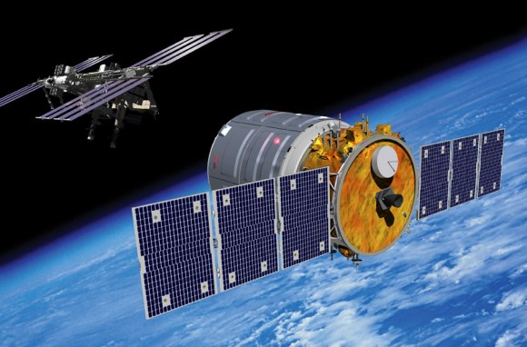 Artist rendering of Cygnus spacecraft approaching the International Space Station