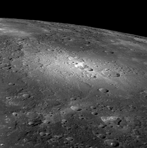 An oblique view of pyroclastic vents on Mercury via MESSENGER