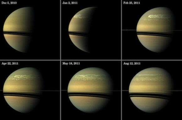 This series of images from NASA's Cassini spacecraft shows the development of the largest storm seen on the planet since 1990. These true-color and composite near-true-color views chronicle the storm from its start in late 2010 through mid-2011, showing how the distinct head of the storm quickly grew large but eventually became engulfed by the storm's tail. Credit: NASA/JPL-Caltech/Space Science Institute