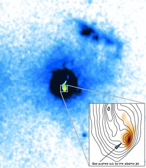 Radio telescope image of the galaxy 4C12.50, nearly 1.5 billion light-years from Earth. Inset shows detail of location at end of superfast jet of particles, where a massive gas cloud (yellow-orange) is being pushed by the jet.  (Credit: Morganti et al., NRAO/AUI/NSF)