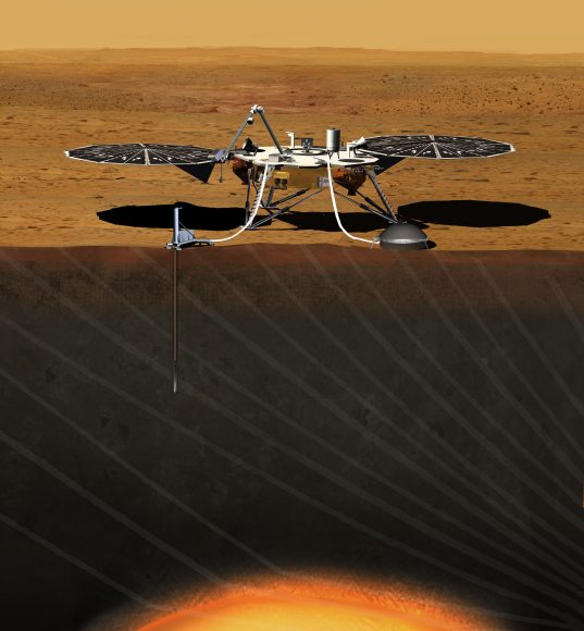 This artist's concept depicts the stationary NASA Mars lander known by the acronym InSight at work studying the interior of Mars. Image credit: JPL/NASA
