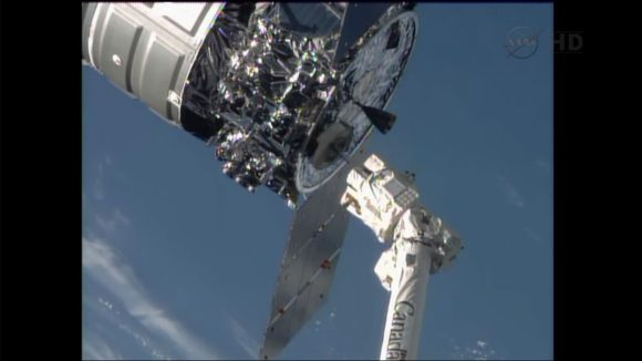 Space Station robotic arm releases Cygnus after detachment from the ISS Harmony node. Credit: NASA TV