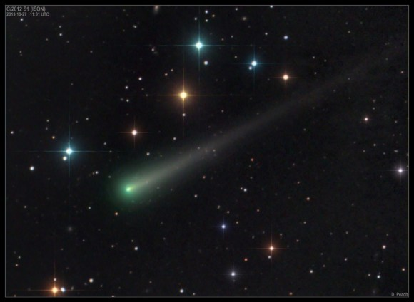 Color image of Comet ISON on October 27, 2013. Credit and copyright: Damian Peach.