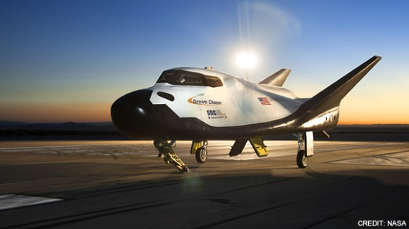 Dream Chaser on the runway with landing g