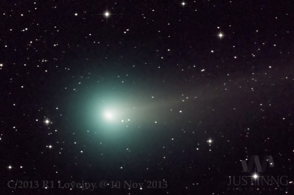 Comet R1 Lovejoy imaged on November 10th by astrophtographer Justin Ng. (Credit: Justin Ng).