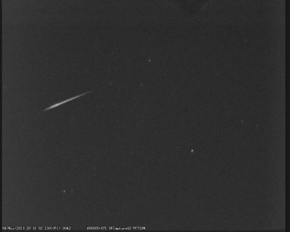 An early Leonid meteor captured last week from the United Kingdom Meteor Observing Network's Church Crookham station. (Credit: UKMON/Peter-Campbell-Burns).